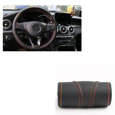 Orange line Black Hand sewing Type Car Steering Wheel Covers Micro Fiber Leather