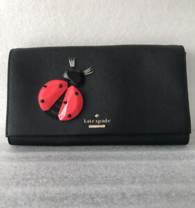 Kate Spade Ladybug Applique Tally Lady Bug Leather Clutch Bag Pre-Owned