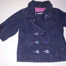 Baby GAP Jacket 0-6 Months Blue Jean Denim Flower Buttons Inside Pink Quilted