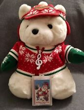Dayton Hudson 1992 Plush Christmas Bear with Cassette Unopened - Sweater Gloves