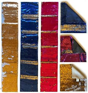 "Table Runner Reversible SEQUIN 12"" X 69"" Choice 4 Modern Colours"