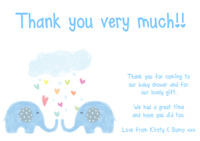 personalised baby shower party thank you notes notelets ELEPHANT RAIN BLUE BOY