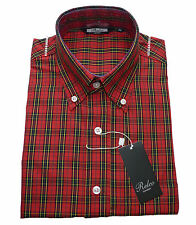 Relco Mens Red Tartan Check Print Shirt NEW Short Sleeve Mod Ska Skin Vintage