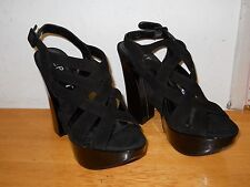 Report New Womens Virginia Black Leather Platform Sandals 9 M Shoes NWOB