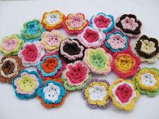 "20 New Motley 1.5"" Crochet Flower Appliques-Mix"