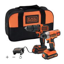 Black & Decker 18V 1.5Ah Li-ion Combi Drill & Impact Driver with 2 Batteries