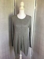 Staccato Women's Size Medium Black & White Striped Buttons Split Sides Sweater