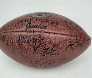 NY Giants 1990s Team SIGNED Wilson Football Michael Strahan Phil Simms Autograph