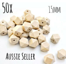 BULK 50x natural wood 15mm hexagon beads geometric sensory necklace teething raw