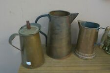 Vintage Set of 3 Handmade Hammered Copper Water Pitcher Ewer Jug Coffee Pot