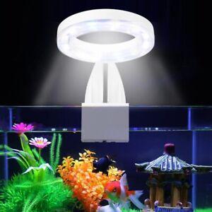 Aquarium Round LED Light Plants Grow Light 5W Waterproof Clip on Fish Tank Lamp