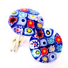 Blue Flower Glass & Silver Murano Millefiori Floral Cufflinks.