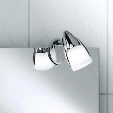 Paul Neuhaus Luces de espejo Lámpara con pinza 1 Luz Cromo Vidrio Blanco Spot