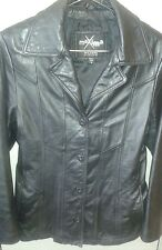 Maxima Wilsons Black Leather Fitted Button Up Women's Jacket Sz M