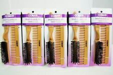 Lot of (5) CONAIR Wood Grip Nylon Volume Comb and Hair Brush Groom Set