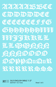 K4 G Decals White 1/2 Inch Old English Bible Letter Number Alphabet Set