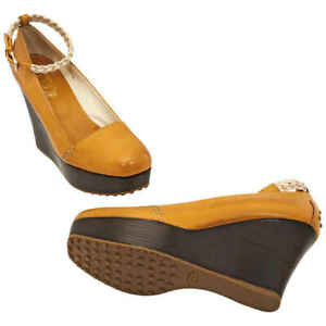Tods Womens Wedge Orange ( US Size Light Nude, Brand Size 40.5 ( US Size 10.5 )