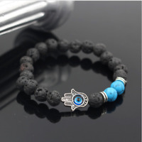 Pulsera Hombre Piedra Lava Casco Guerrero Espartano Ajustable Regalo ideal Novio