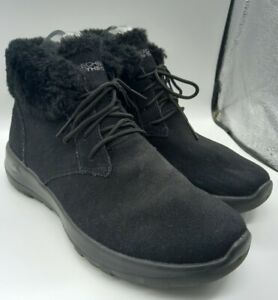 Skechers On the Go Joy Lush Boots Size 4 UK Black Suede Faux Fur Lining Lace Up