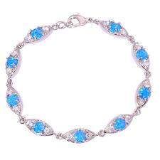 """Blue Fire Opal Zircon Women Jewelry Gemstone Silver Bracelet 7 7/8"""" OS366"""