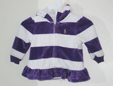 RALPH LAUREN Girls Size 3 Months Purple White Fleece Striped Hoody Jacket