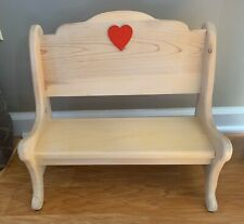 Doll Bench Wood With Red Heart 15� Tall X 15 1/2� In Length Dolls / Bear Display