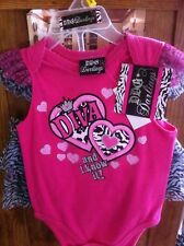 Girl's Outfit Size 3-6 Months,Hot Pink One-Piece and Zebra Print Tutu by DDG NWT