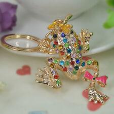 TQ Frog Dragonfly Keyring Rhinestone Crystal Pendant Bag Keychain Christmas Gift