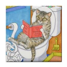 Large Ceramic Tile 6x6 inch. Made USA Cat 535 funny bathroom art L.Dumas