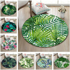 Jungle Parrot Watercolor Cactus Palm Leaf Round Floor Mat Living Room Area Rugs
