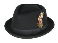 Stinger FEDORA Trilby Godfather Wool Felt Swanky Hat Black White M L XL