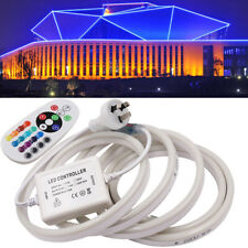 220V LED RGB Neon Light Strip+Controller Sign Wall Lamp Waterproof Flexible Wire
