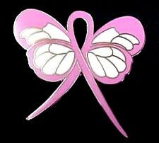 Breast Cancer Awareness Pin Pale Pink Ribbon Butterfly Silver Trim New