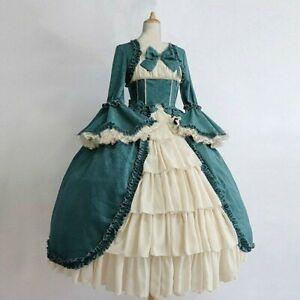 Women Lolita Victorian Gothic Dress Ruffle Bowknot Evening Retro Costume