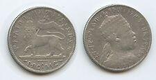 G1457 - Äthiopien ½ Birr EE1889 A (1897) KM#4 Silber SEHR RAR Löwe Ethiopia