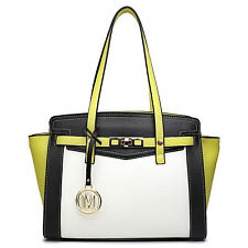 Ladies Designer Leather Wing Style Tote Shoulder Bag Handbag yellow