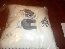 embroidered rabbit cushion