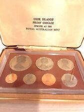 1973 Cook Islands Proof, 7 Coin Set, Franklin Mint, w/ Box Tangaroa God Coin