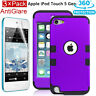 Film + High Hybrid Impact Hard Soft Rubber Case Cover For iPod Touch 6 5 5th Gen
