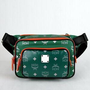 MCM Resnick Eden Green Leather Reflective Nylon Belt Bag MUZ9ARA09G5001