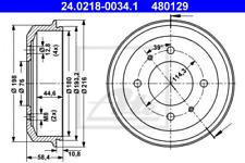 2x Bremstrommel für Bremsanlage Hinterachse ATE 24.0218-0034.1