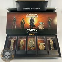 FigPin Pins - The Mandalorian Deluxe Box Set Of 5 Star Wars Gold Plated LE 2900