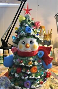 Ceramic Bisque Hand-Painted Snowman Tree With Star