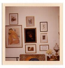 PHOTO ANCIENNE COULEUR Intérieur Salon Tableaux Gravures Vers 1960