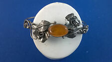 800 Silver Poland Wirework Hand Made Bracelet with Flowers, Leaves, Honey Amber