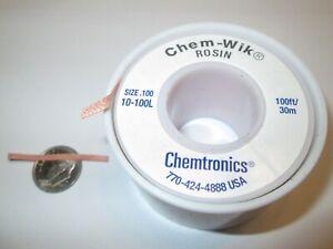 CHEMTRONICS 10-100L CHEM-WIK DESOLDERING BRAID  100'  NOS