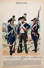 Schweiz Suisse Schwyz Uniform Uri Glarus Infanterie Grenadier Soldat Bajonett