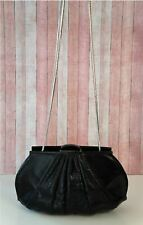 JUDITH LEIBER Pleated Black Lizard Evening Shoulder Bag and Coin Purse