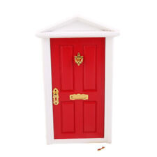 1: 12th Red Painted Legno Legno Porta Porta Anteriore Dolls Casa Miniatura