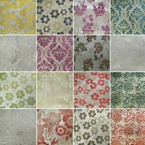 Metallic Brocade Fabric Embroidered Satin Floral Flower Curtain Upholstery Home